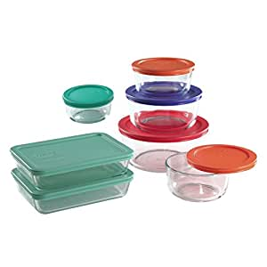 pyrex 14 piece food storage containers glass round and rectangle set with colored. Black Bedroom Furniture Sets. Home Design Ideas