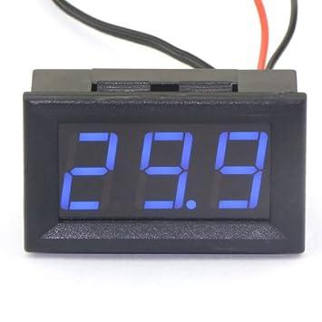 DROK® DC 12V Termómetro Digital Medidor de temperatura -50 ~ 110 ° C Embedded detector de temperatura de la sonda con la pantalla azul LED: Amazon.es: ...