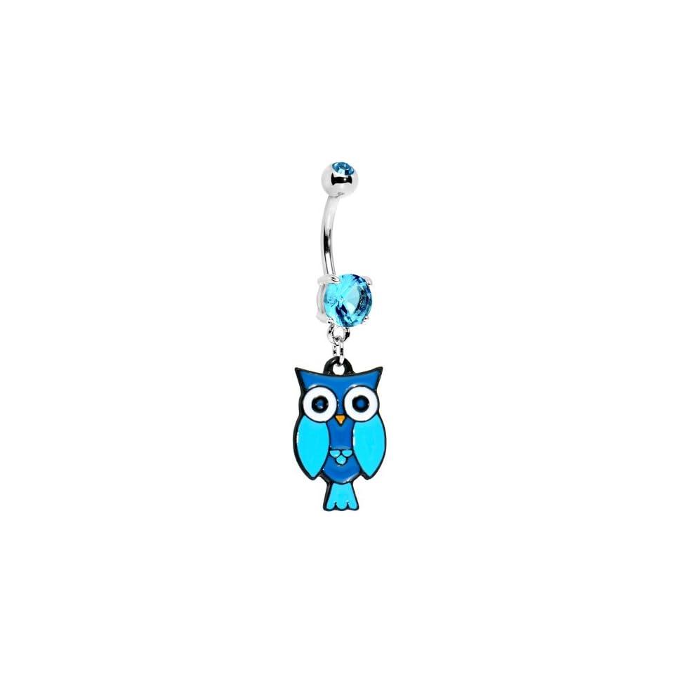 Aqua Double Gem Perched Owl Belly Ring