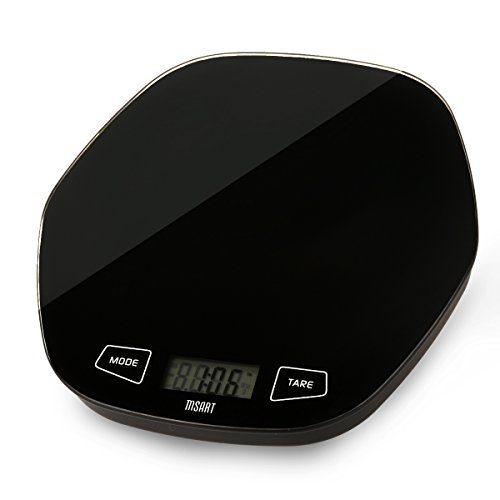 MSART 11lb 5kg Digital Kitchen Scale Jewelry Scale with 24 Hour Clock, Black