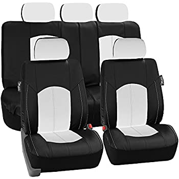 FH Group PU008WHITE115 Full Set Seat Cover Perforated Leatherette Airbag Compatible And Split Bench Ready