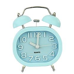 Goldfox Fashion Oval Cute Twin Double Bell Desk Alarm Clock with Nightlight Loud Alarm (blue)