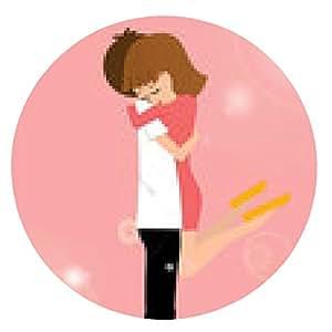 alfombrilla de ratón abrazo joven pareja haciendo el amor en el fondo de color rosa - ronda - 20cm