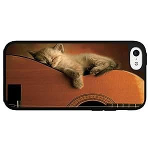 Kitten Sleeping on Acoustic Guitar Hard Snap on Phone Case (iPhone 5c)