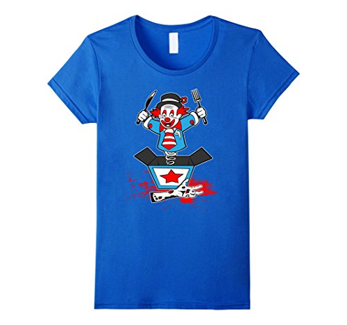 Frankenstein Costume Hands (Womens Funny Halloween Clown Jack Jester in a Box Zombie Hand Shirt Small Royal Blue)