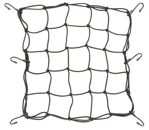 Powertye 15x15 Mfg Cargo Net Made with Premium Latex Bungee Material, 3x3 Mesh and Rubber-Tipped Super Strong Metal Hooks, Black