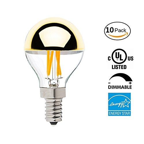 Vintage LED Filament Light Bulb , Half Gold Mirror Top Light Bulb , Energy Saving Warm White 2700K, E12 Candelabra Base, 40 Watt Equivalen ,Dimmable,10Pack (45 Led Light Strand)