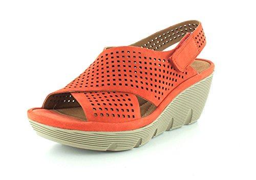 Clarks Fortællende Clarene Tildeling Kvinder Åben Tå Læder Kile Sandal Grenadine Uq3zNnOB96