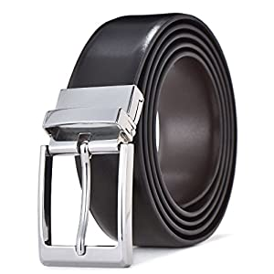Men's Dress Belt Leather Reversible Buckle with Gift Box (Waist 34''-36'', Style1)