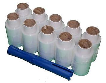 10 rollos de 100 M x 150 m transparente Mini mano palet Film elástico Wrap shrink práctico dispensador: Amazon.es: Oficina y papelería