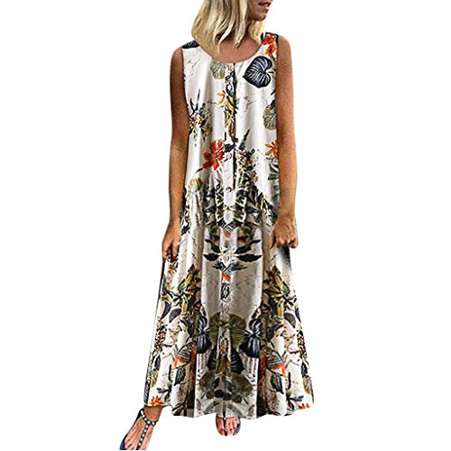 (Sttech1 Plus Size Dress for Women, Bohemian O-Neck Floral Print Sleeveless Retro Long Maxi Dress Holiday Dress White)