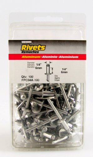 "FPC84A-100 Short Aluminum Rivets - 1/4"" Diameter, 1/4"" Grip - 100 Count"