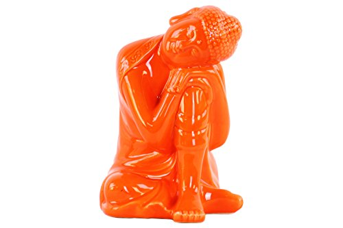 Ceramic Buddha Statue Head (Urban Trends Ceramic Sitting Buddha Figurine with Rounded Ushnisha and Head Resting on Knee Gloss Finish Orange, Orange)
