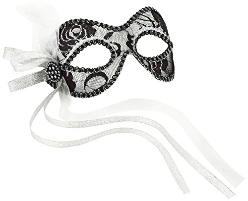 Size Costume Lace And Silver Mask Black One Venetian Bq0RvI