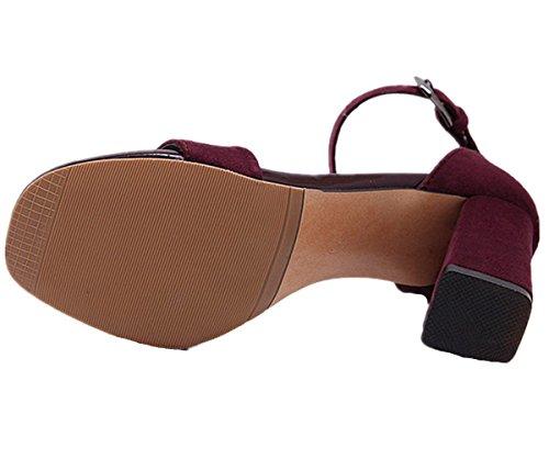 Anbover Damesmode Enkelbandje Elegante Blokhak Sandalen Bordeaux Rood
