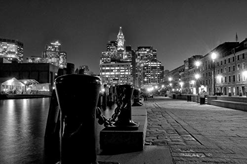 (Night time waterfront, Long Wharf, Boston docks - black and white fine art photo art for home art for office, twilight photography)