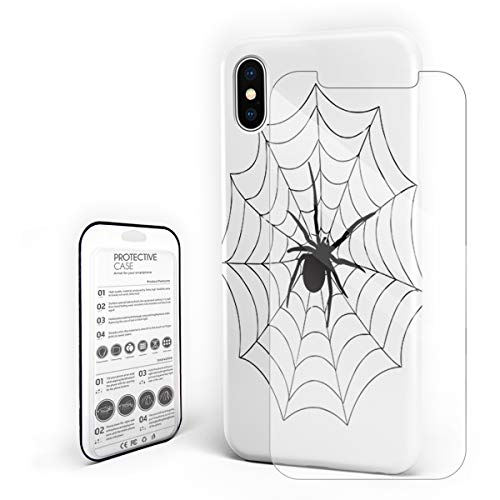 - Slim Fit Hard Shell Case for iPhone X Full Protective Shockproof Spider on Spider Web Silhouette Black Phone Case