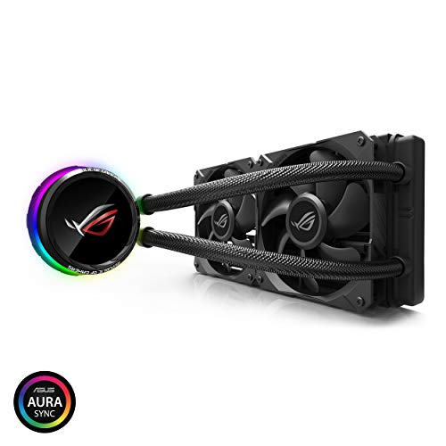 ASUS ROG RYUO 240 RGB AIO Liquid CPU Cooler 240mm Radiator Dual 120mm 4-Pin PWM Fan with OLED Panel & Fan Control 1.77