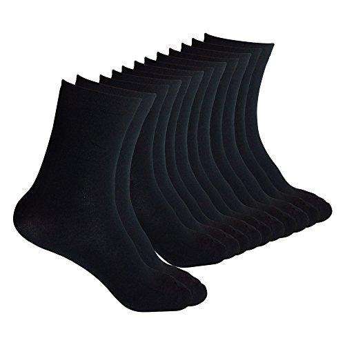 GenMax Men's & Womens Black Bamboo Fiber  Socks - 6-10 Size - Black, (Pack of 6)