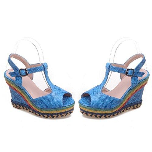 Moda Mujer de Zanpa 1 Sandalia Blue Cuna Tacon SvqWxw51