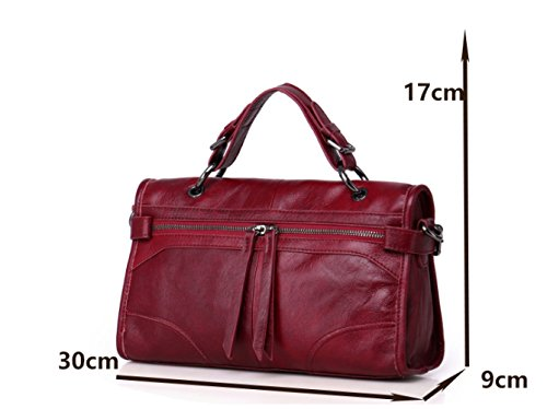 Locomotive Classic Elements Cowhide Material use Female Dual Small Red Bag New Slung Portable Bag 4q1w5tw