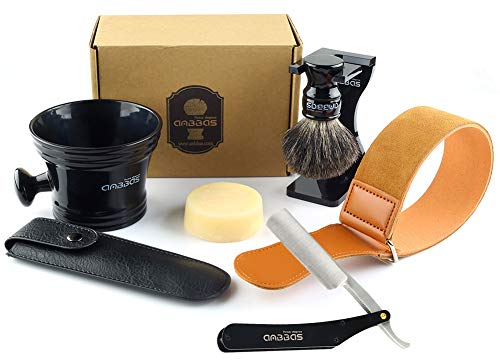 Shaving Brush Set,7in1 Anbbas Black Badger Hair Brush,Acrylic Shaving Stand,Resin Shaving Mug,Goat Milk Soap,Stainless Steel Straight Razor,Leather Travel Bag and Razor Strop Shaving Kit for Men