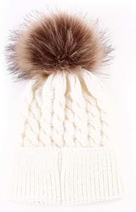 oenbopo Baby Winter Warm Knit Hat Infant Toddler Kid Crochet Fur Hairball Beanie Cap