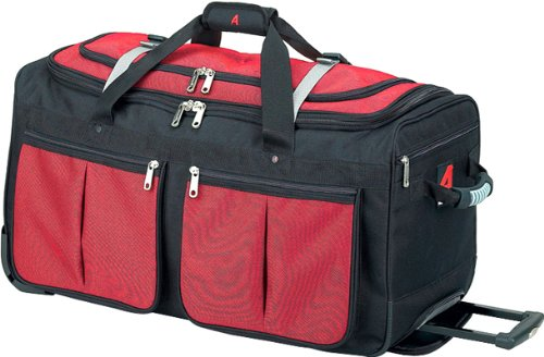 29 Wheeled Duffel Large (Athalon Luggage 29 Inch 15 Pocket Duffel, Red/Black, One Size)