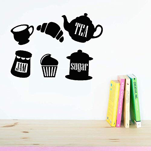 Lisoue Vinyl Removable Wall Stickers Mural Decal Tea, Jam, Sugar for Kitchen Dining Room -