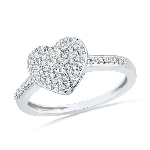 Sterling Silver White Round Diamond Heart Ring (1/4 cttw) by D-GOLD (Image #2)
