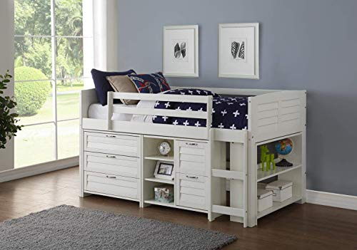 Donco Kids 795-TW-A Louver Modular Low Loft Bed Combo A A, Twin, White ()