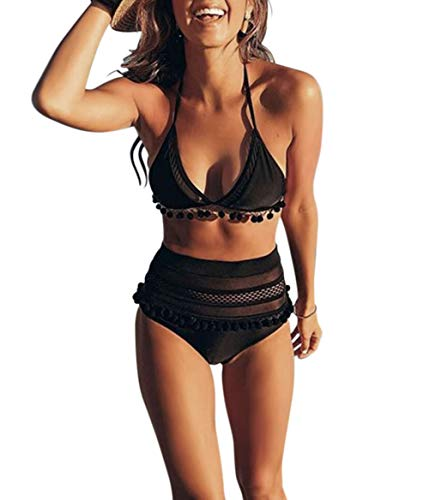 ZESICA Women's Halter Strap Mesh Striped High Waist Two Pieces Bikini Set Padded Tassel Swimsuit