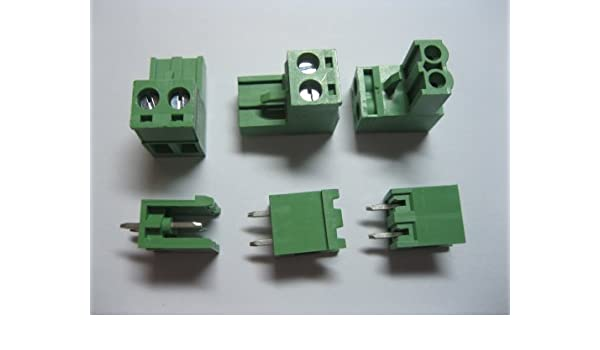 10 Pcs Pitch 3.5mm Angle 2way//pin Screw Terminal Block Connector w//Angle Pin Green Color Pluggable Type Skywalking