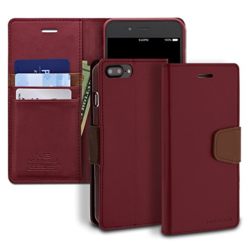 iPhone 8 Plus Case, ModeBlu [Classic Diary Series] [Wine] Premium Synthetic Leather [Stand View] for Apple iPhone 8 Plus (2017)