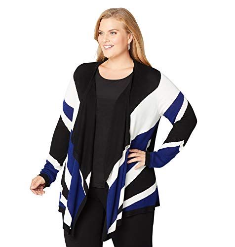 Avenue Women's Colorblock Cardigan, 18/20 Royal Blue
