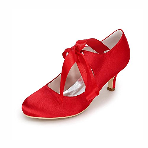Spool Donna Di Pompe Scarpe Da Nastro Punta Cravatta Rosso Raso Tacco Alta Metà Chiusa Sposa Con Superiore Sposa rwwt8xnd