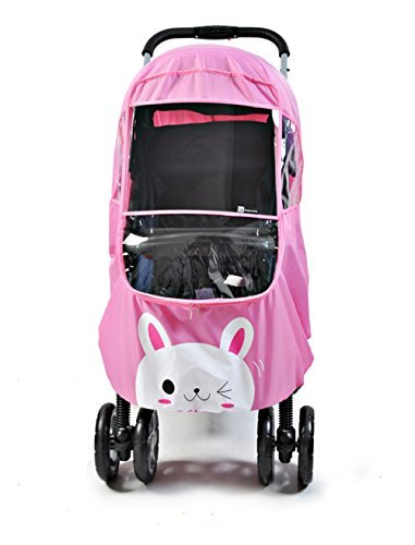 Universal Baby Weather Shield Baby Stroller Canopy Waterproof Rain Cover (Pink)