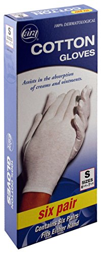 CARA Moisturizing Eczema Cotton Gloves, Small, 6 Pair