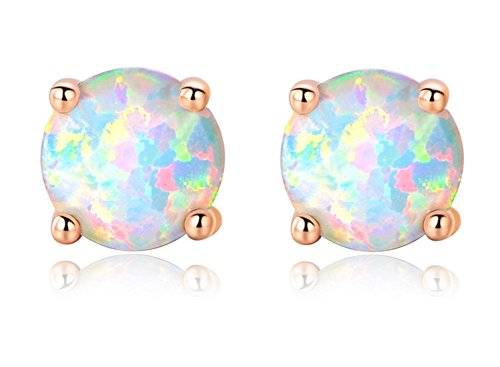 OREOLLE Rose Gold Plated Opal Stud Earrings 7MM Round for Women