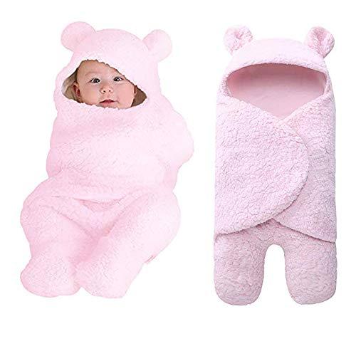 - Newborn Baby Boy Girl Receiving Blanket, Hooded Cotton Plush Swaddle Blanket, Newborn Cute Sleeping Bag Sack Unisex Stroller Wrap for Baby Boys and Girls (Pink)