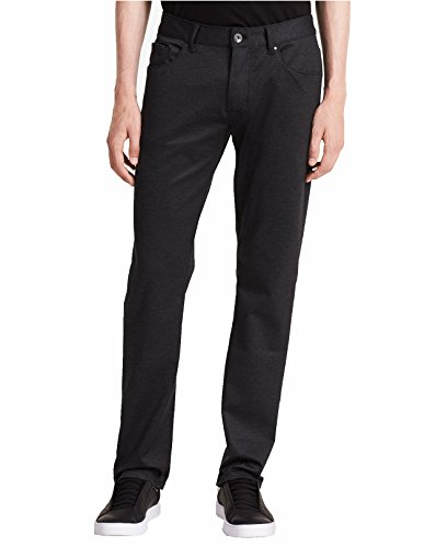 Calvin Klein Mens Herringbone Slim Fit Dress Pants Black ()