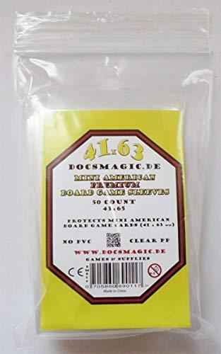 docsmagic.de 50 Premium Mini American Board Game Sleeves - 41 x 63 - Small US - 43 x 65