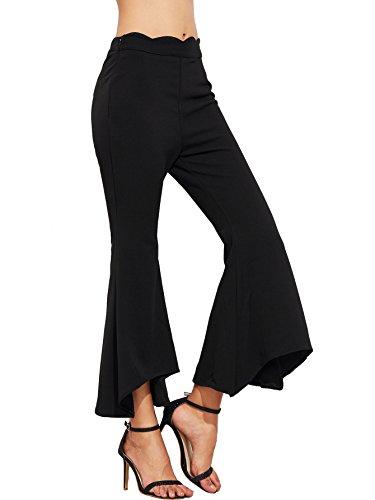 Stretch Wide Leg Crop Pants - SweatyRocks Women's Bell Bottoms Flared Pants Wide Leg Cropped Palazzo Pants Black M