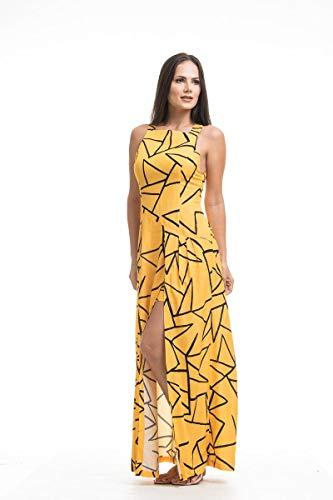 3d821c775d Vestido Clara Arruda Longo Costa Detalhe 50462-44 - Grafico Amarelo ...