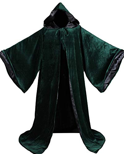 LuckyMjmy Velvet Wizard Robe with Satin Lined Hood and Sleeves (Dark Green-Black)
