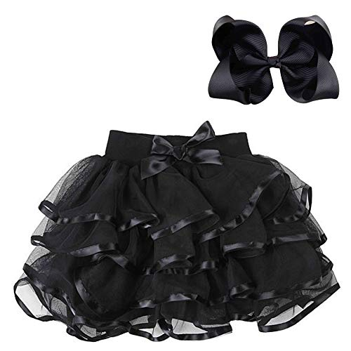 BGFKS 4 Layered Tulle Tutu Skirt for Girls with Matching Hairbow,Girl Ballet Tutu Skirt (Black, 3-4 Years)]()