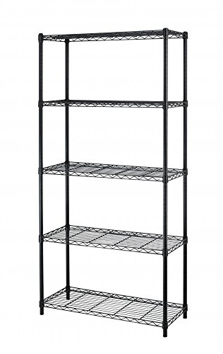 - BestOffice 5 Tier Wire Shelving Unit Heavy Duty Height Adjustable Utility Commercial Grade NSF Metal Steel for Kitchen Bathroom Bedroom Garage-36 x 14 x 72, Black