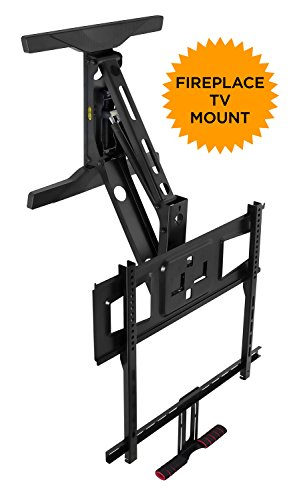 (Mount-It! Fireplace TV Mount, Full Motion Pull Down Mantel TV Mounting Bracket with Height Adjustment, Fits 40-70 Inchs TVs, 70 lbs Capacity)