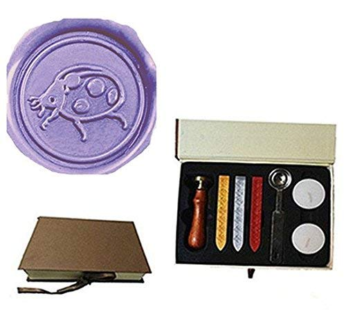 MDLG Cute Beetle Insect Wax Seal Stamp Wedding Invitation Gift Cards Wine Packages Wax Seal Sealing Wax Sticks Stamp Rosewood Handle Melting Spoon gift Box Set Kit