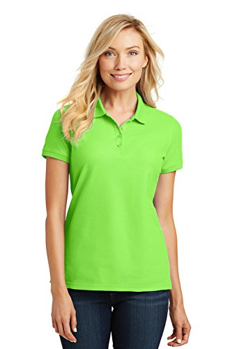 Port Authority Ladies Core Classic Pique Short Sleeved Golf Polo, Small, (Ladies Lime Green)